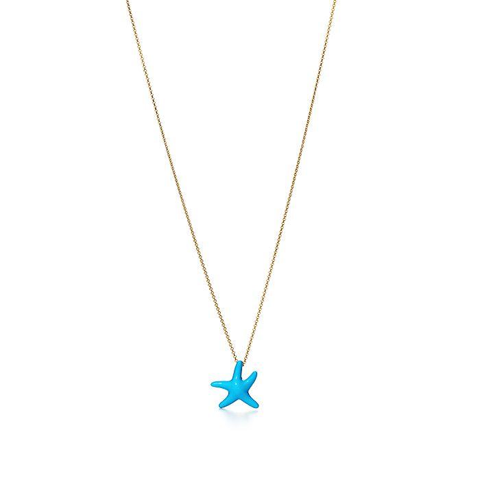 73e93d51f Elsa Peretti® Starfish pendant of turquoise and 18k gold, mini ...