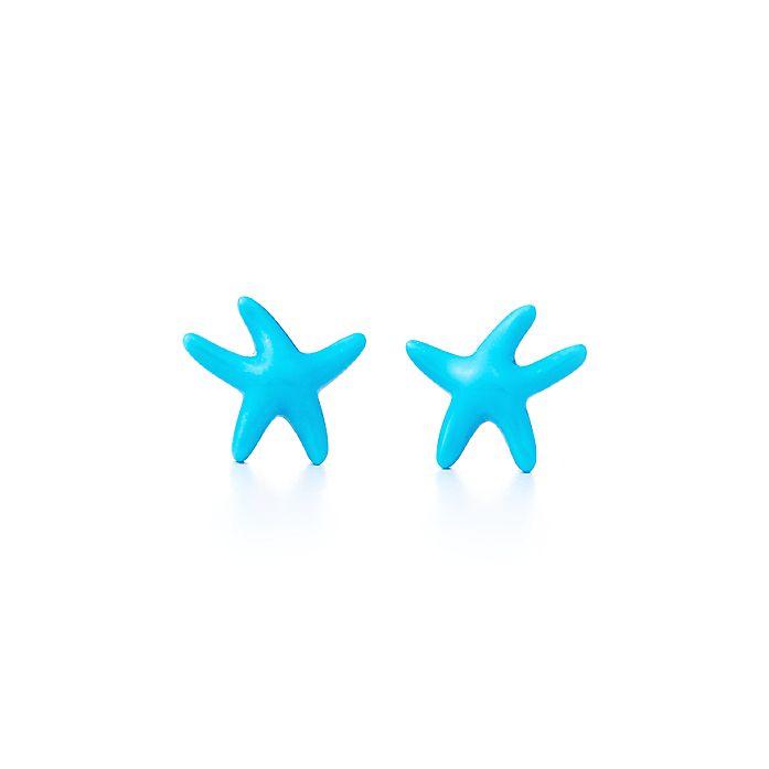 c0ee49f44 Elsa Peretti® Starfish earrings of turquoise and 18k gold, mini ...