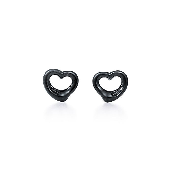e7cebc97d Elsa Peretti® Open Heart earrings of black jade and sterling silver ...