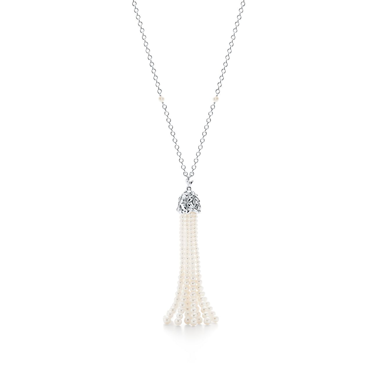 Excellent Paloma Picasso® Olive Leaf pearl tassel necklace in sterling  MO72