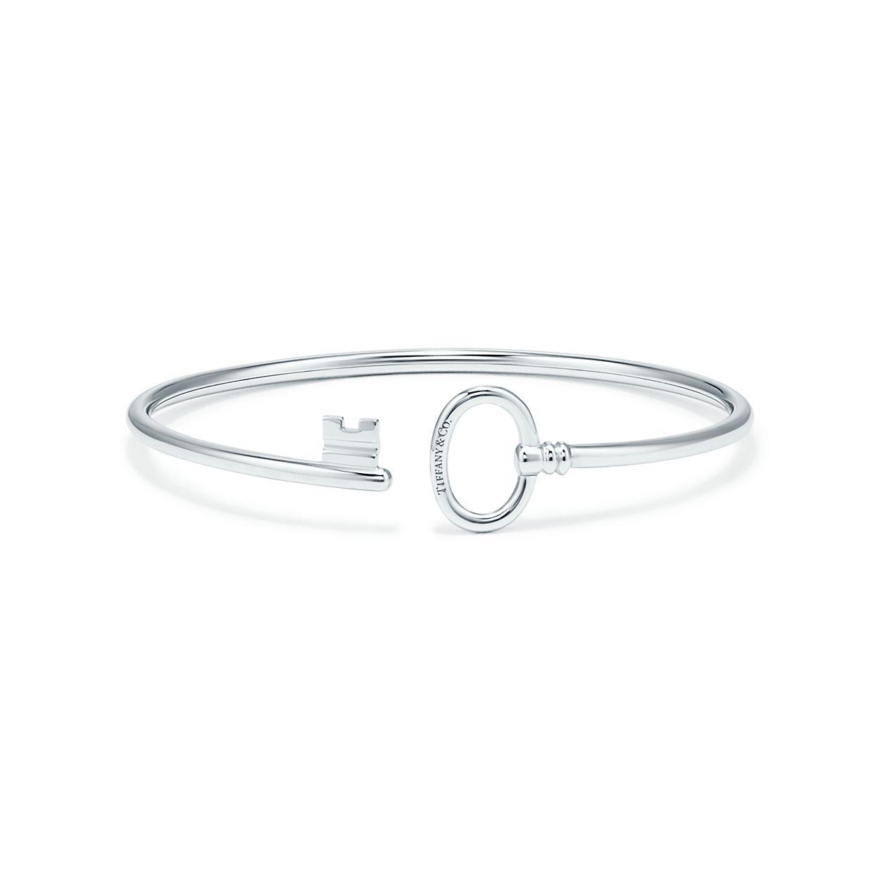Tiffany Keys wire bracelet in 18k white gold, medium.   Tiffany & Co.