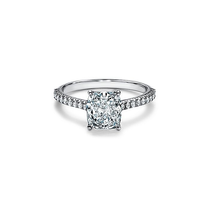 846dc17d4ff5 Tiffany Novo® cushion-cut engagement ring with a pavé diamond band in  platinum.