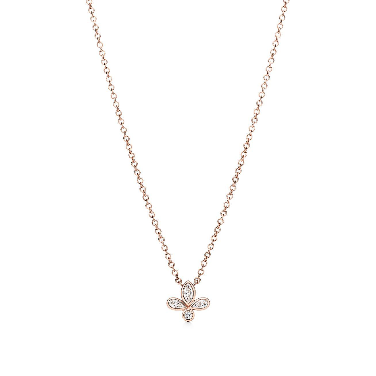 Tiffany fleur de lis pendant in 18k rose gold with diamonds mini tiffany fleur de lispendant aloadofball Choice Image