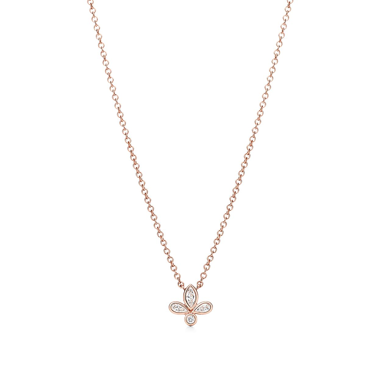 Tiffany fleur de lis pendant in 18k rose gold with diamonds mini tiffany fleur de lispendant aloadofball Image collections