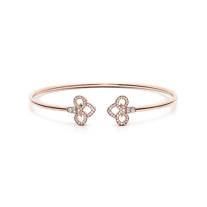 ecc12af02 Tiffany Fleur de Lis wire bangle in 18k rose gold with diamonds ...