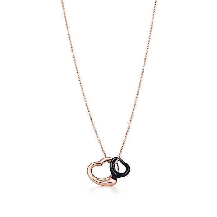 7c861bf11 Elsa Peretti® Open Heart pendant of 18k rose gold and black jade ...