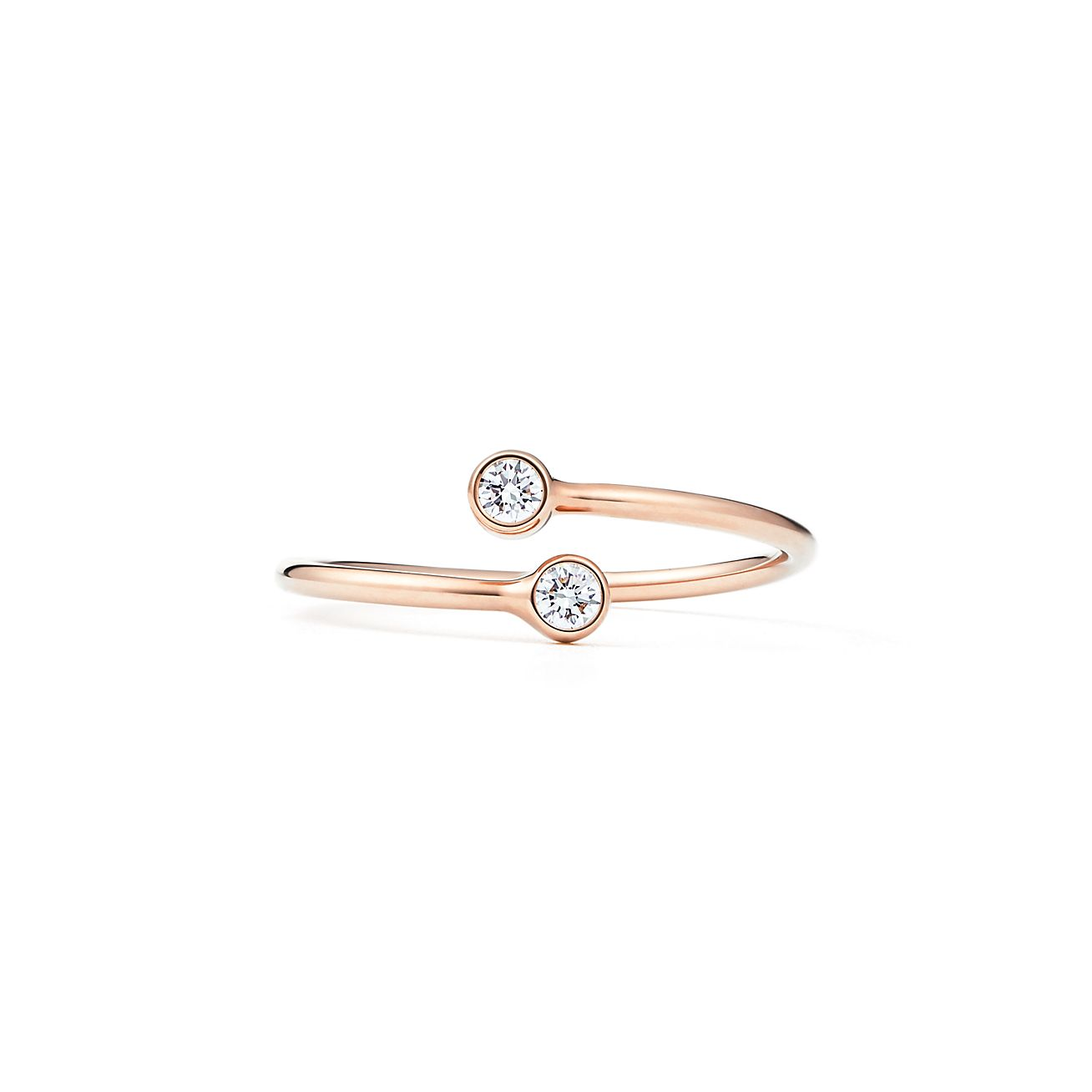 Elsa Peretti stacking band ring in 18k rose gold with diamonds - Size 6 Tiffany & Co.