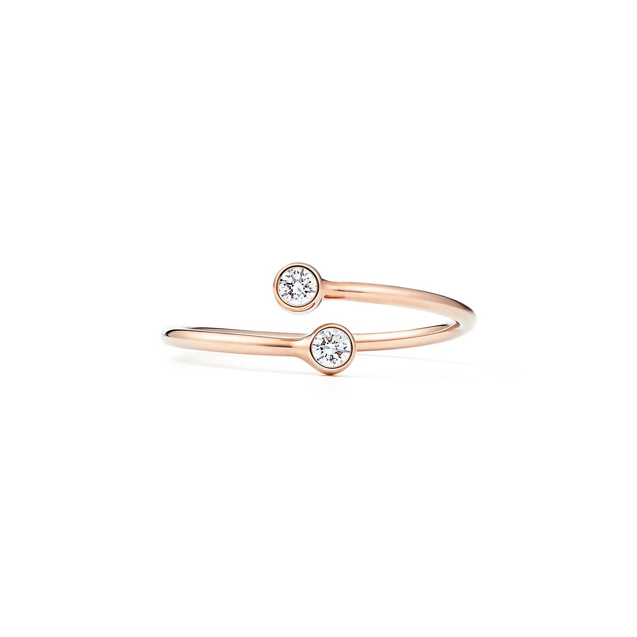 Elsa Peretti stacking band ring in 18k rose gold with diamonds - Size 6 Tiffany & Co. iKFYB