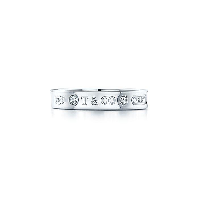 d37e50422 Tiffany 1837® narrow ring in 18k white gold with diamonds. | Tiffany ...