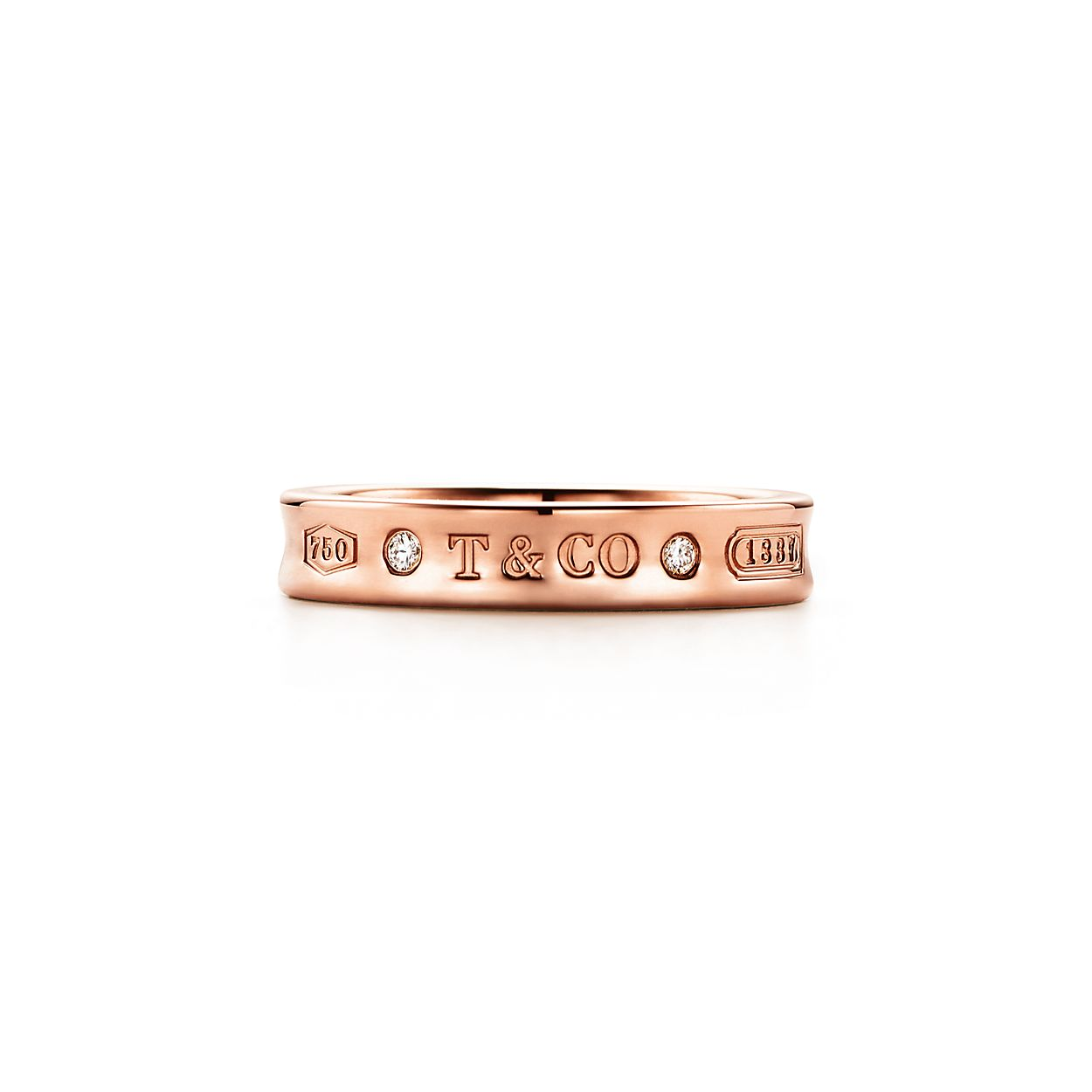 Tiffany 1837 narrow ring in 18k rose gold with diamonds - Size 11 1/2 Tiffany & Co. aVGG3mgdkI