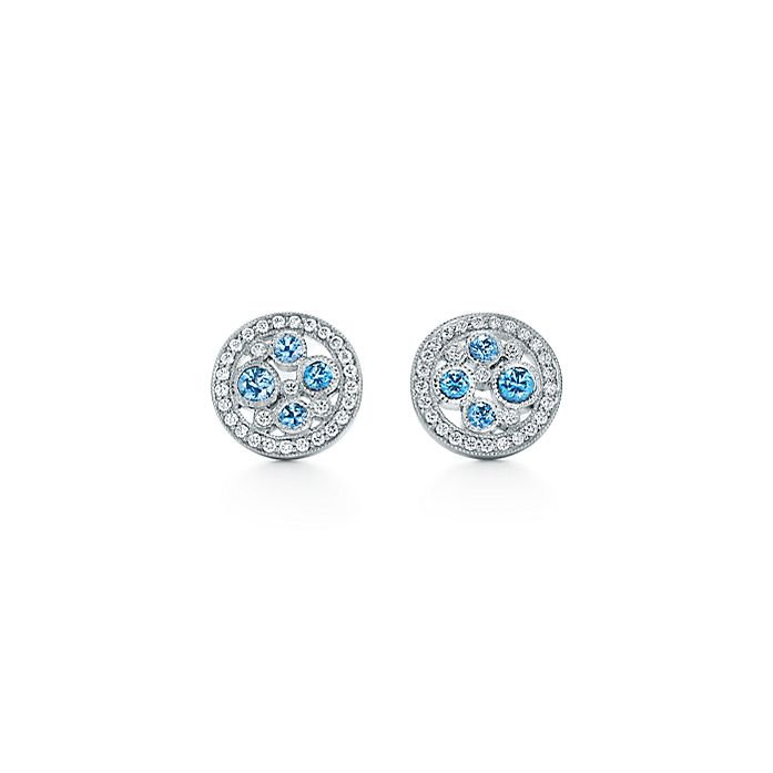 a7baac92d Tiffany Cobblestone earrings in platinum with diamonds and sapphires ...