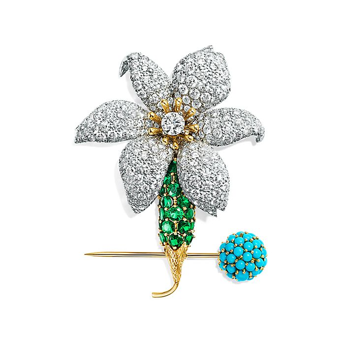 c5b11ce98 Tiffany & Co. Schlumberger Orchid clip brooch in platinum and 18k ...
