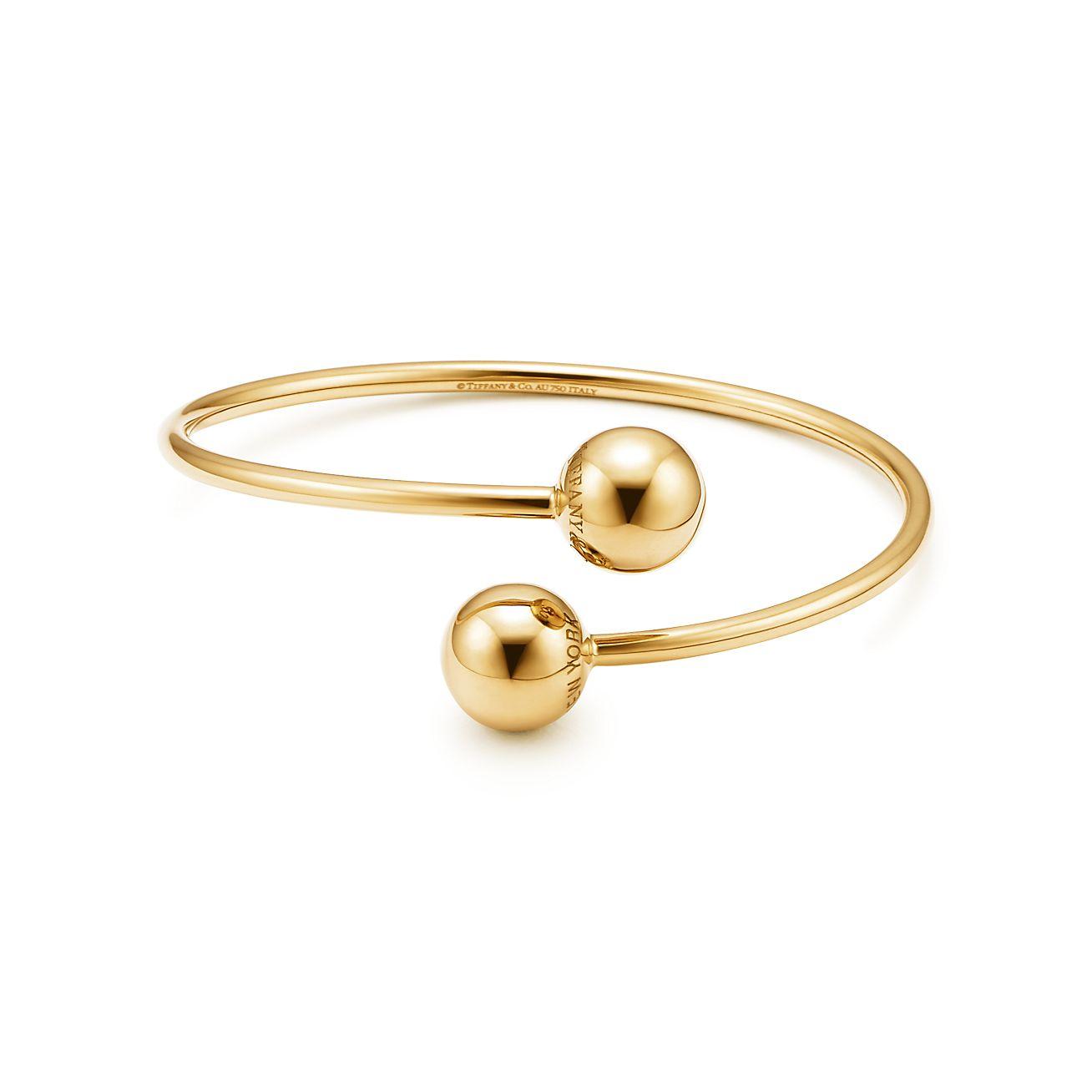 tiffany hardwear ball bypass bracelet in 18k gold medium tiffany