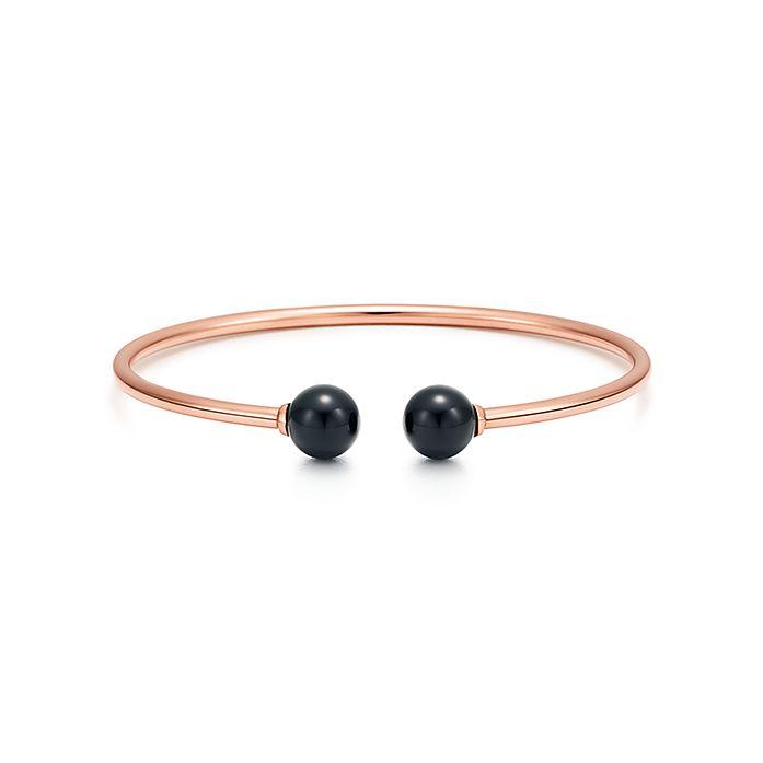 dc8932017 Tiffany HardWear ball wire bracelet in 18k rose gold with black onyx ...