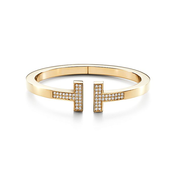 54ac4e486 Tiffany T square bracelet in 18k gold with pavé diamonds, medium ...