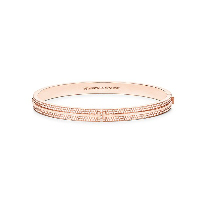 be68760ae Tiffany T Two Hinged Bangle In 18k Rose Gold With Pavé Diamonds