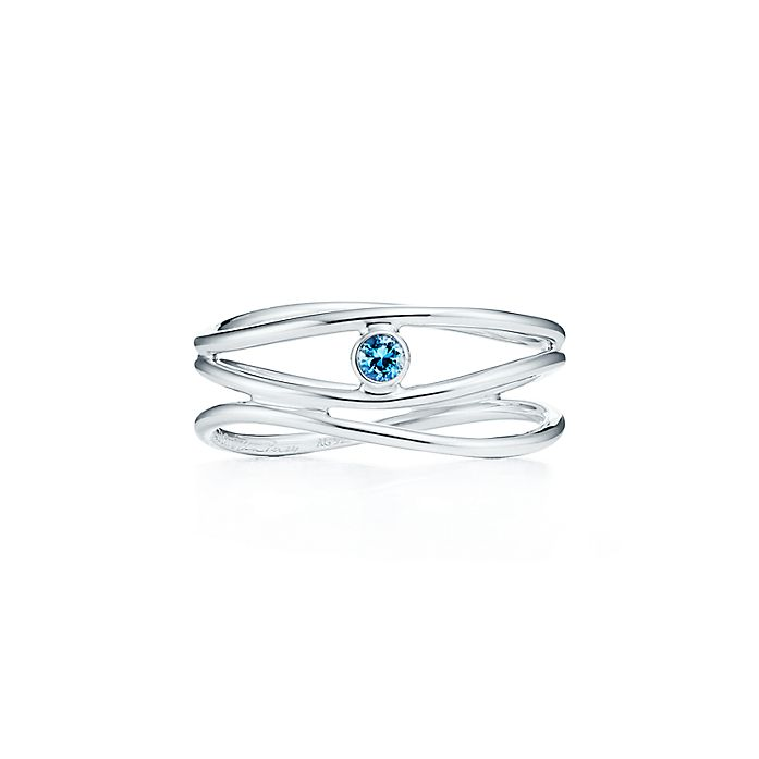 cb1bfaf9f Elsa Peretti® Wave three-row ring in sterling silver with an ...