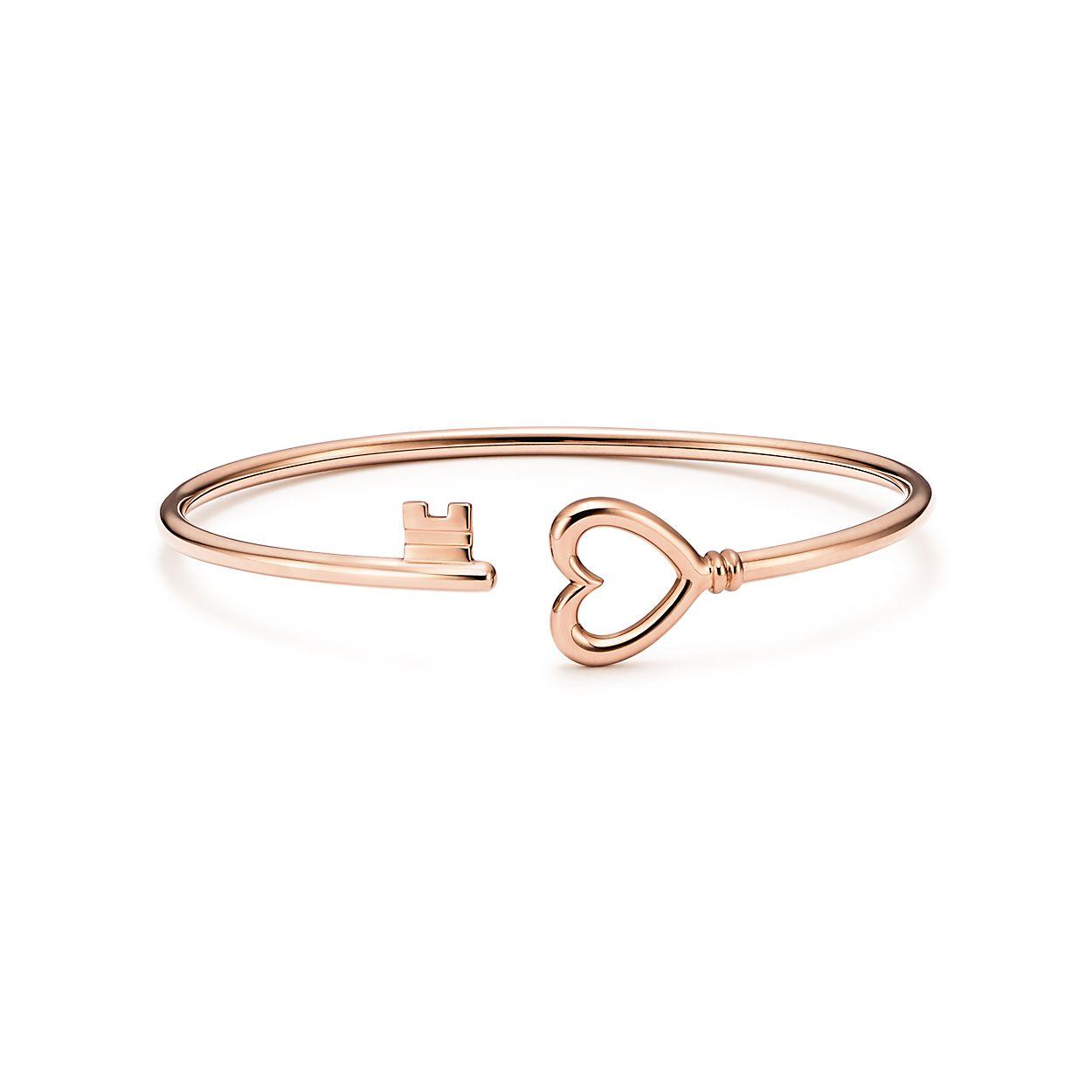 Tiffany Keys wire heart bracelet in 18k rose gold, medium. | Tiffany ...