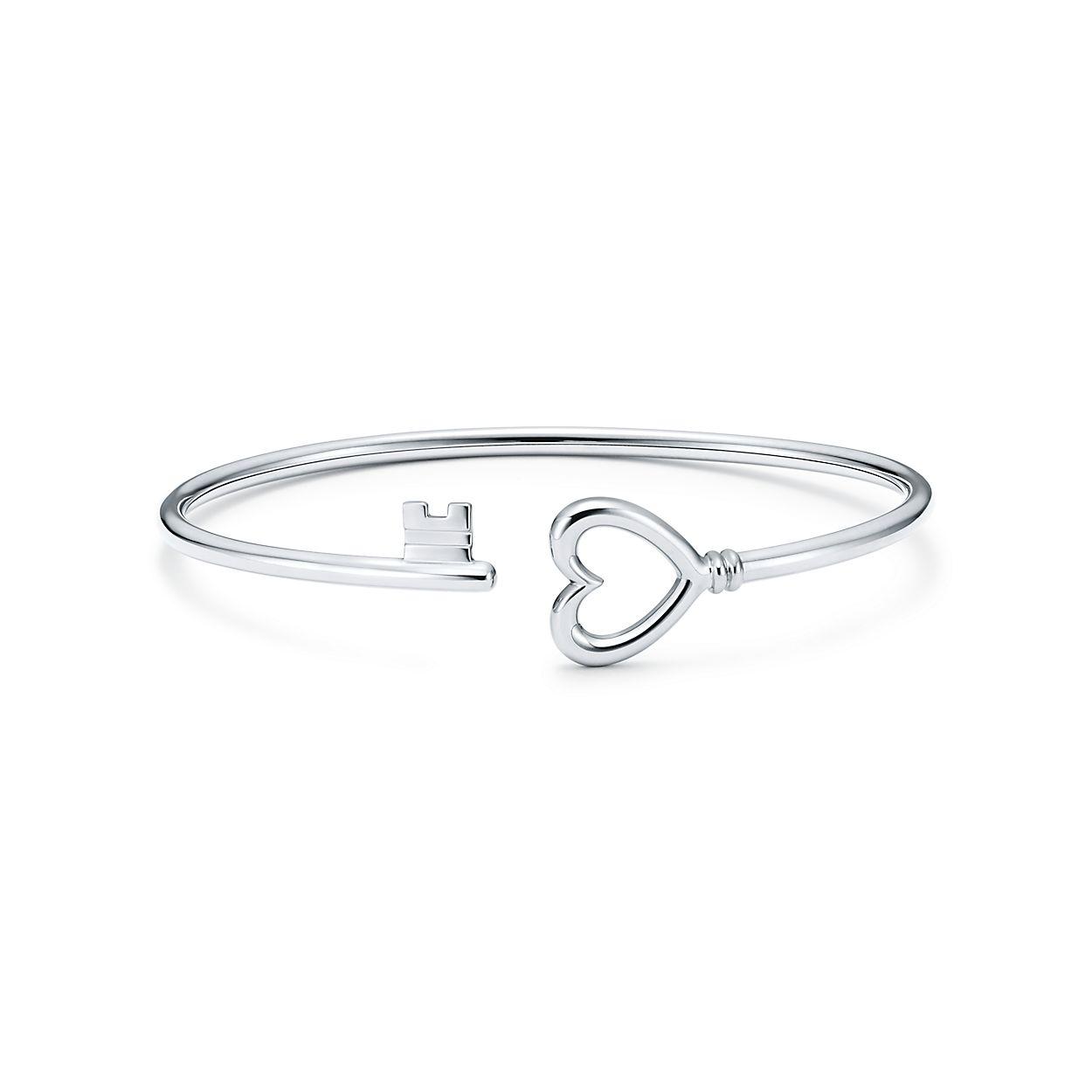 Tiffany Keys wire heart bracelet in 18k white gold, medium ...