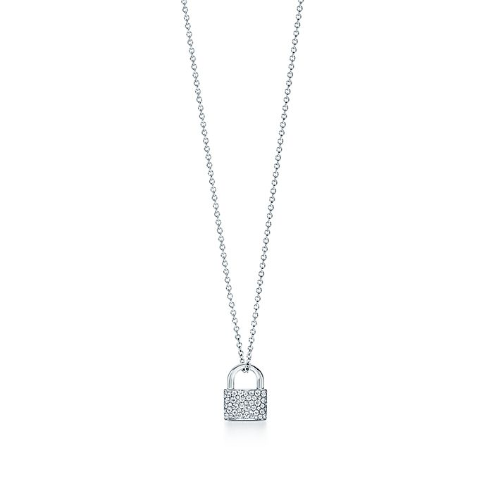 5a838b027 Tiffany HardWear lock pendant in 18k white gold with diamonds ...