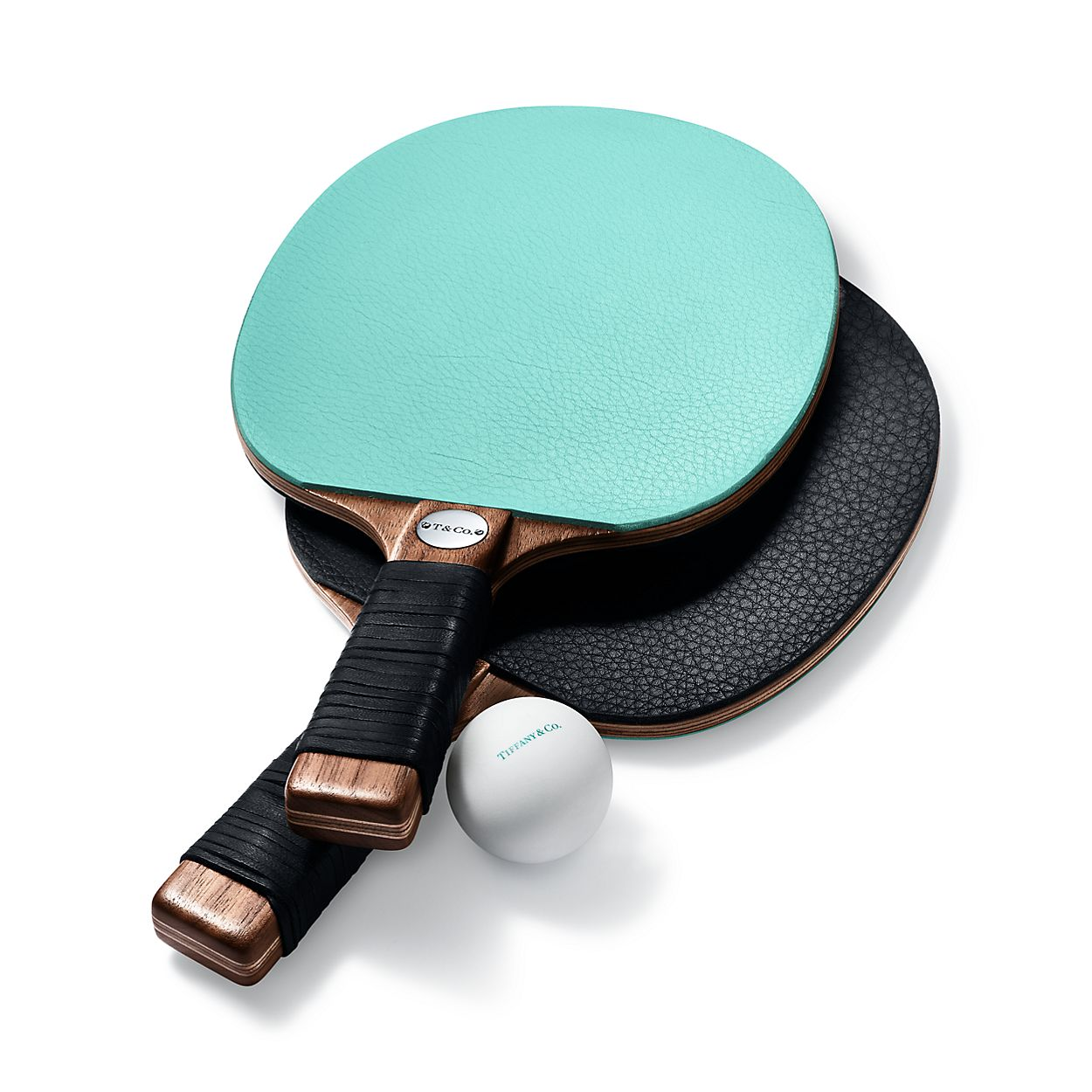 Everyday Objects leather and walnut table tennis paddles, set of two ...