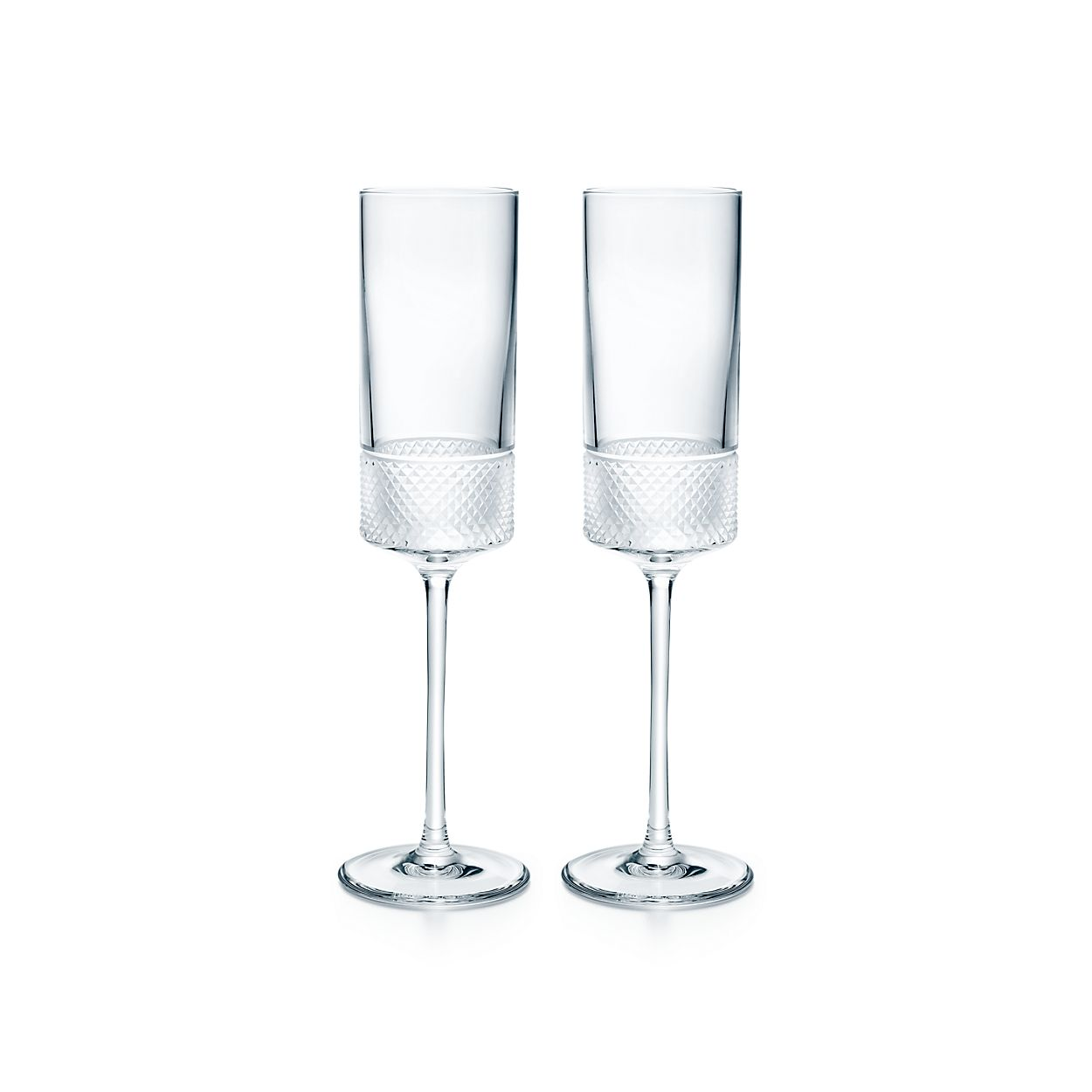 diamond point champagne flutes in crystal glass set of two