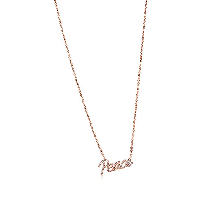 4cd2ffc6a Paloma's Graffiti peace pendant in 18k rose gold with diamonds, mini ...