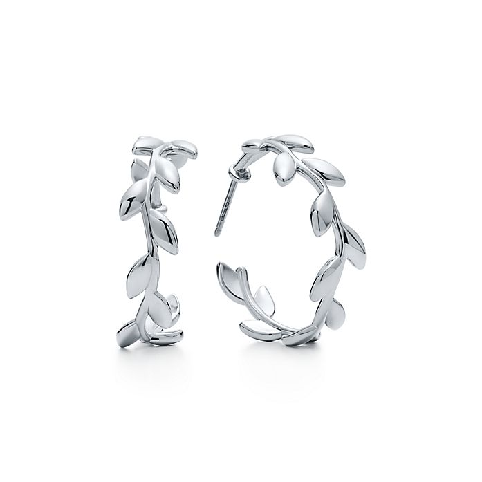d98744021 Paloma Picasso® Olive Leaf hoop earrings in sterling silver ...