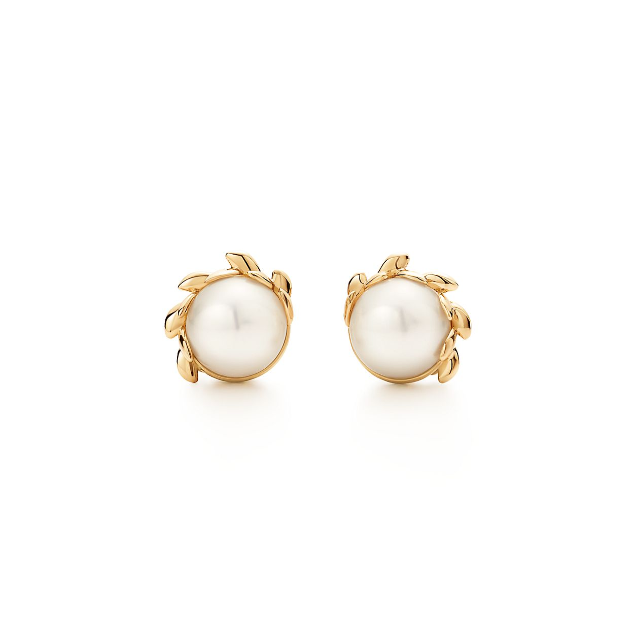 Paloma Pico Olive Leaf Br Pearl Earrings