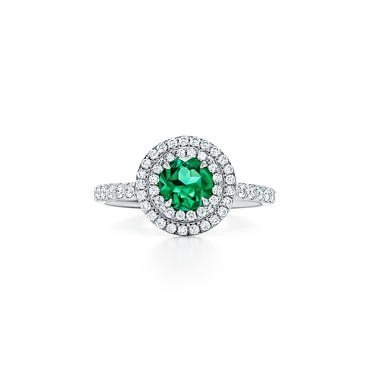 Tiffany Soleste Ring In Platinum With Diamonds And An Emerald Mobile Legend Diamond 36 Co