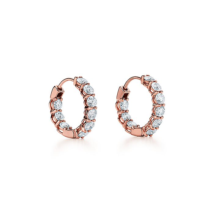 2673d0a7e Diamond hoop earrings in 18k rose gold, small. | Tiffany & Co.