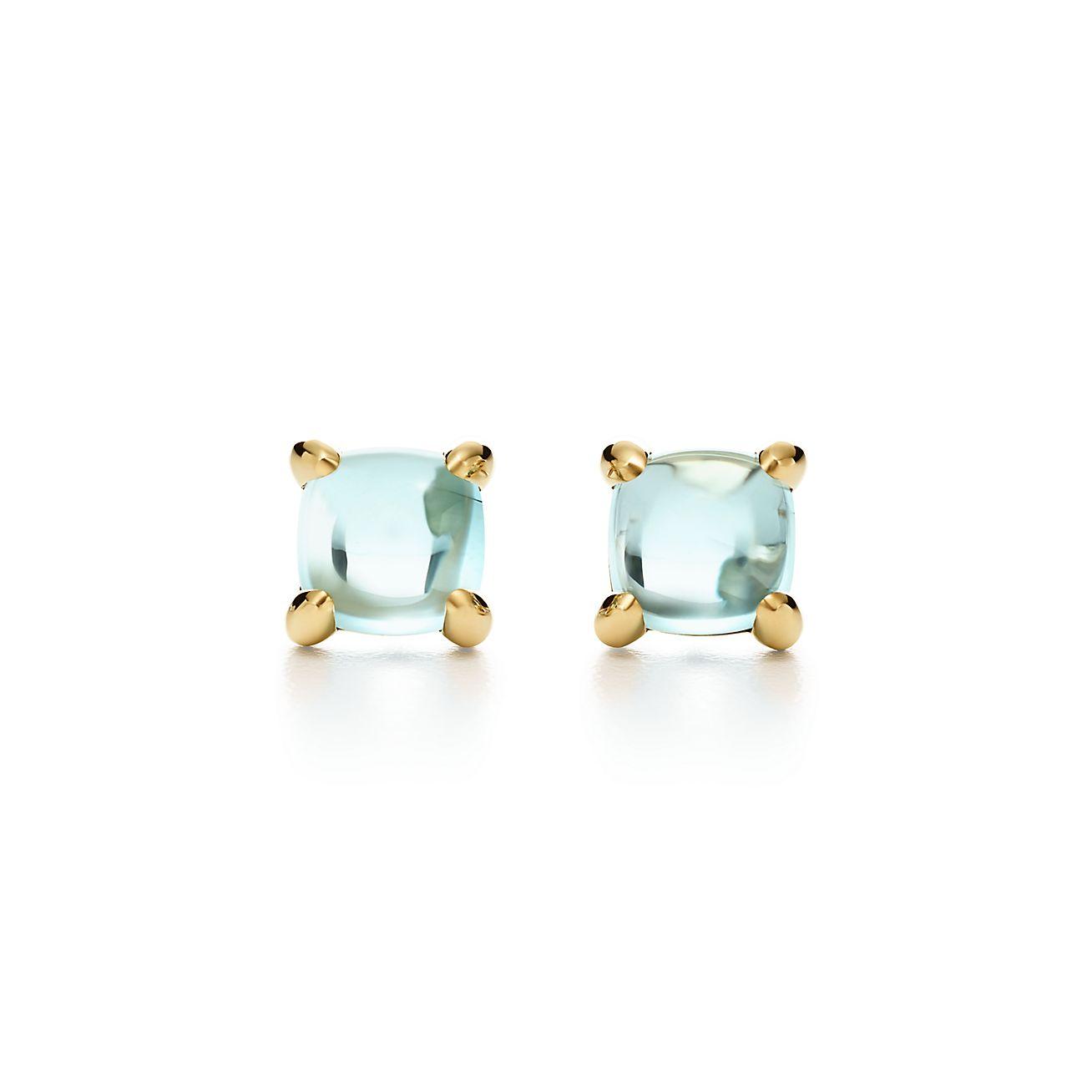 El Azúcar Se Acumula Palomas Pendientes En Oro De 18 Quilates Con Topacio Azul Tiffany & Co. ul2oZ