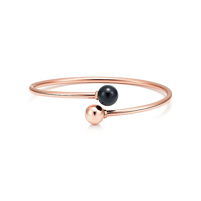 4d951f228 Tiffany HardWear ball bypass bracelet in 18k rose gold with a black ...
