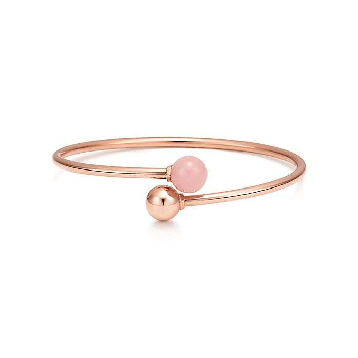 40bcb4b51 Tiffany HardWear ball bypass bracelet in 18k rose gold with pink ...