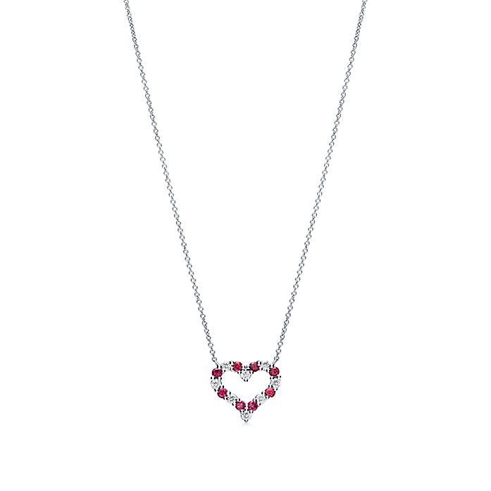 c51b61b8a Heart pendant in platinum with rubies and diamonds, small. | Tiffany & Co.