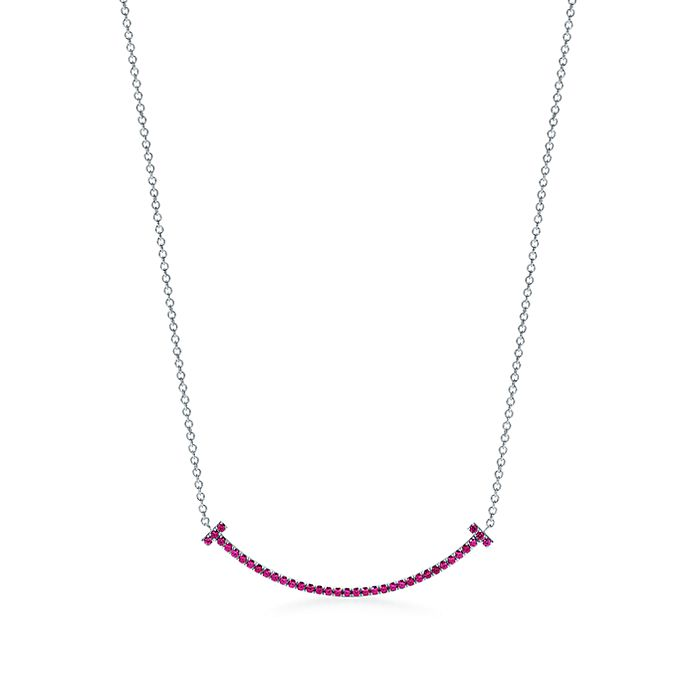 8c0e65c72 Tiffany T smile pendant in 18k white gold with rubies, mini ...