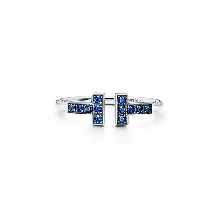 187314b6a Tiffany T wire ring in 18k white gold with sapphires.   Tiffany & Co.