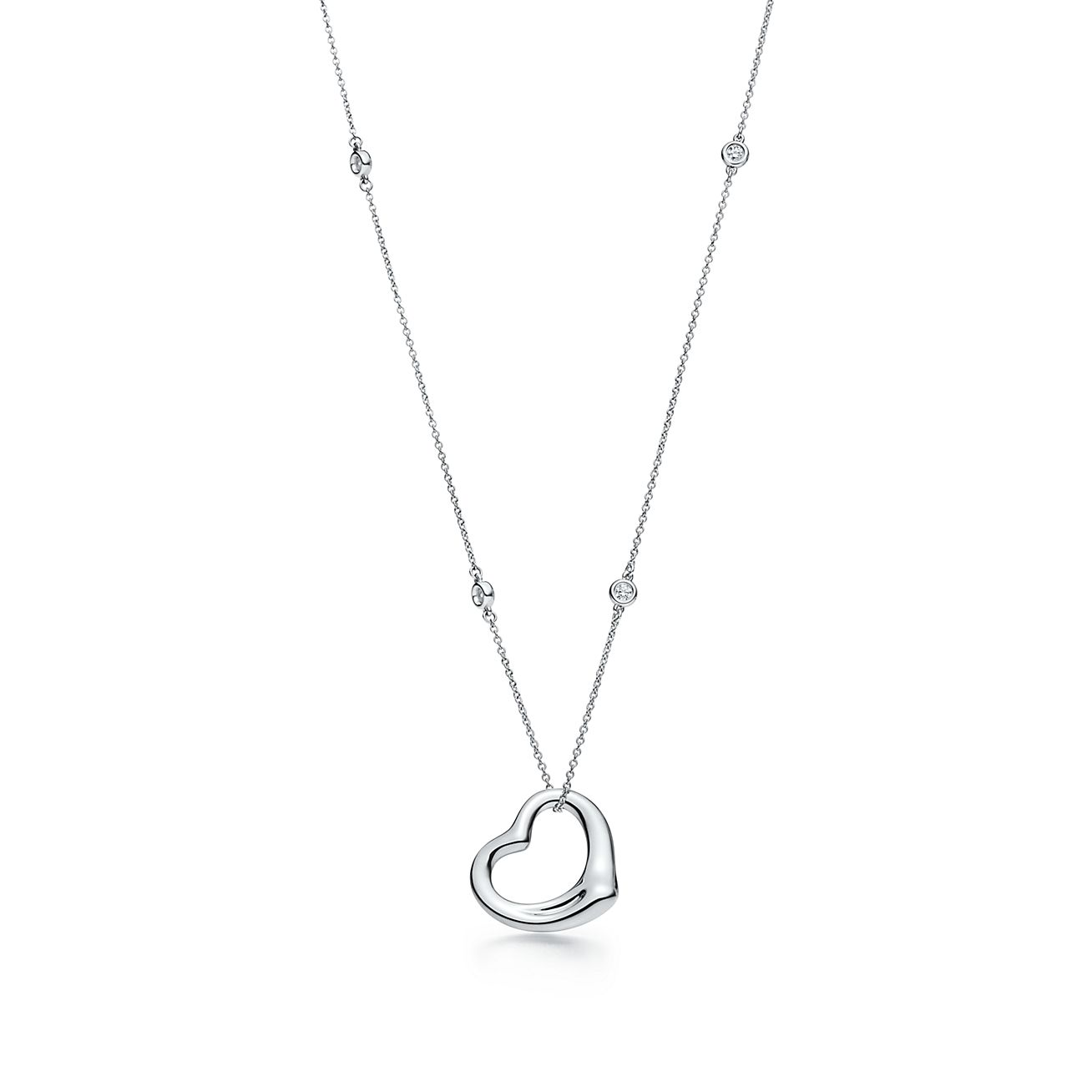 Elsa Peretti Diamonds by the Yard Open Heart pendant in sterling silver Tiffany & Co.