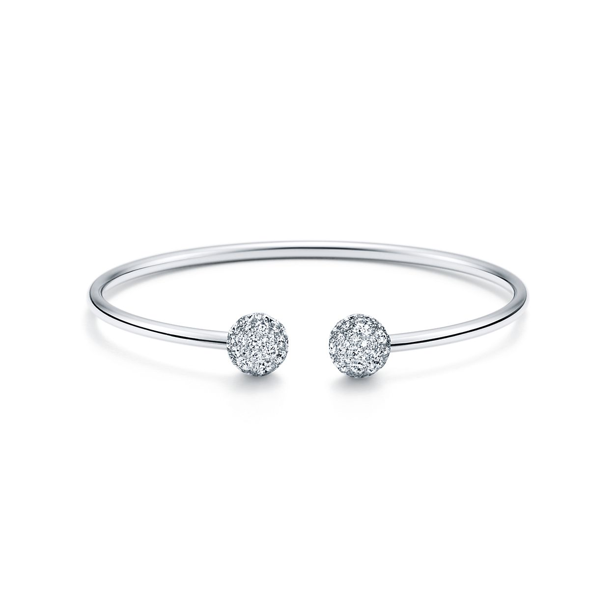 Tiffany HardWear ball wire bracelet in 18k white gold with diamonds ...