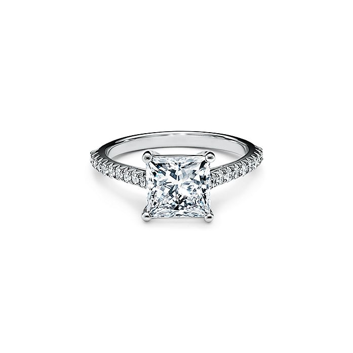 e42f981e7cab8 Tiffany Novo™ Princess-cut Engagement Ring with a Pavé-set Diamond Band in  Platinum