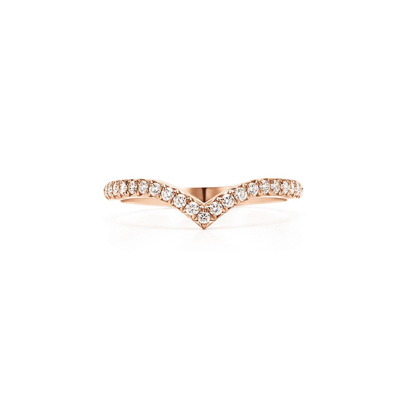 Tiffany Soleste V Ring In 18k Rose Gold With Diamonds Tiffany Co