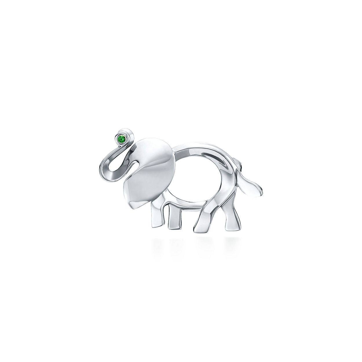 Tiffany Save the Wild elephant brooch in silver with a tsavorite, extra large Tiffany & Co.