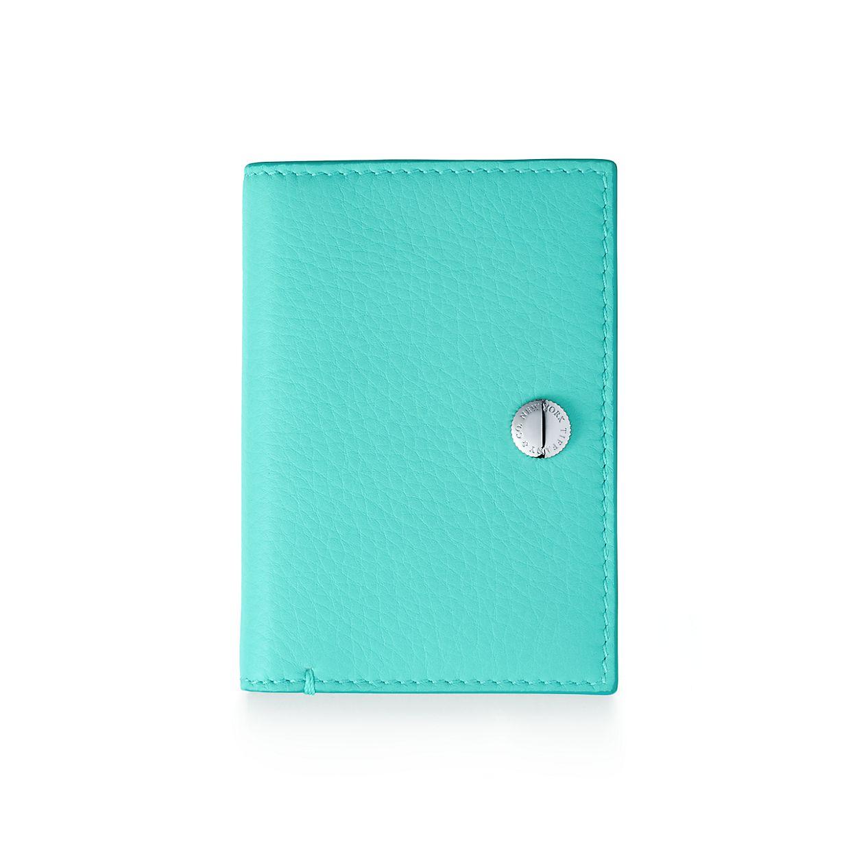 Vertical folded card case in Tiffany Blue® grain calfskin leather ...