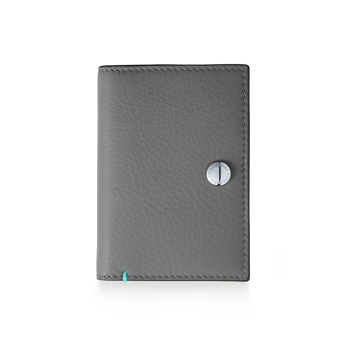 Vertical folded card case in Tiffany Blue grain calfskin leather Tiffany & Co.