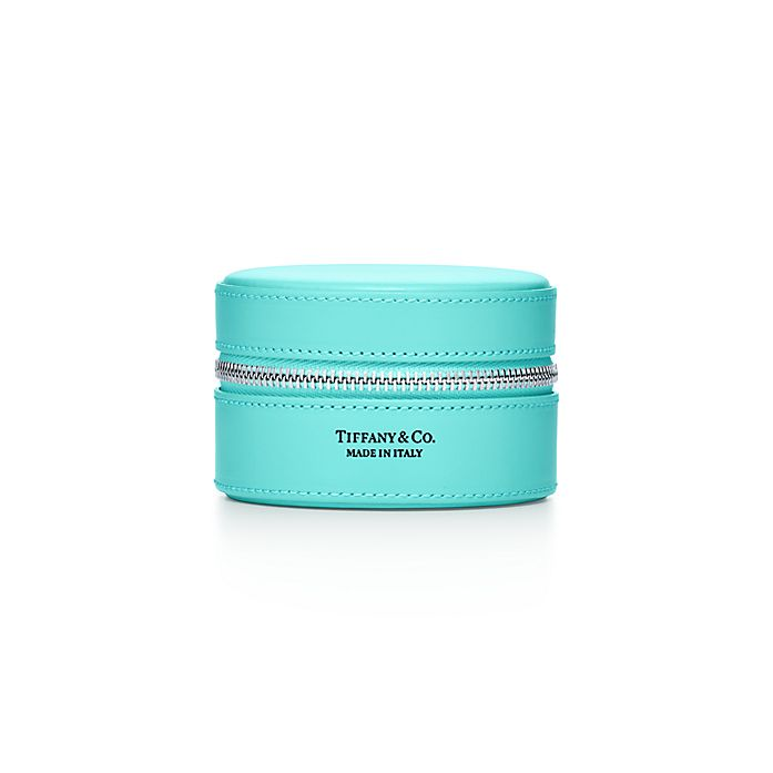 f1587aa4c35 Round jewelry case in Tiffany Blue® smooth calfskin leather