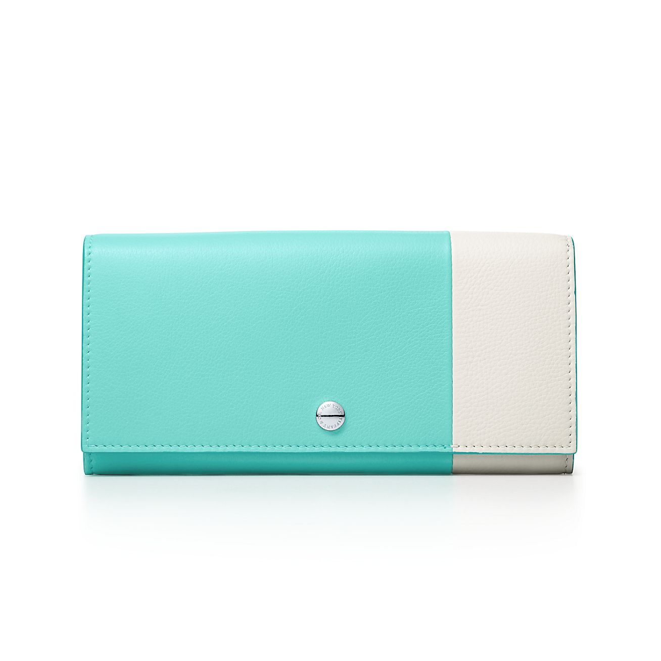 Color Block zip wallet in off-white and Tiffany Blue grain calfskin leather Tiffany & Co.