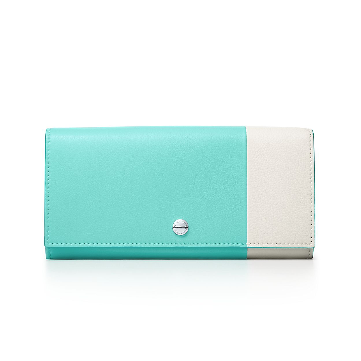 Color Block zip wallet in off-white and Tiffany Blue grain calfskin leather Tiffany & Co. 75IV0TKNKP
