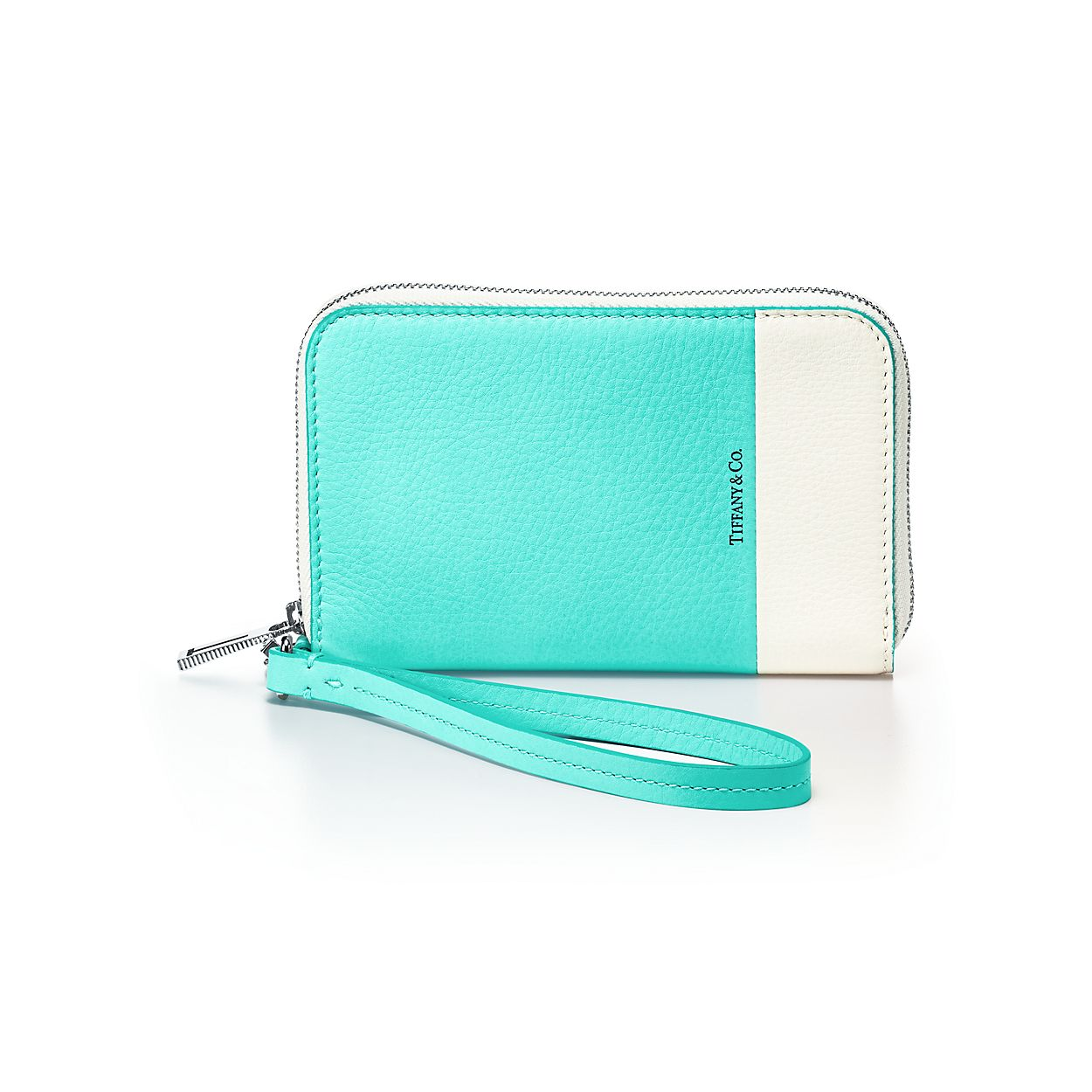 color block zip wallet in off white and tiffany blue grain calfskin