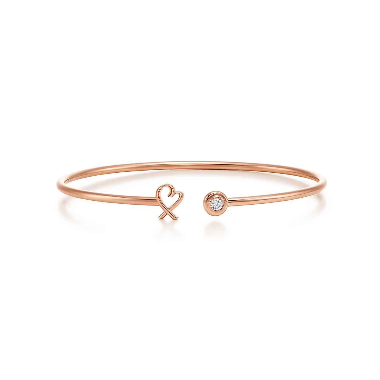 Paloma Picasso® loving heart wire bracelet in 18k rose gold with ...