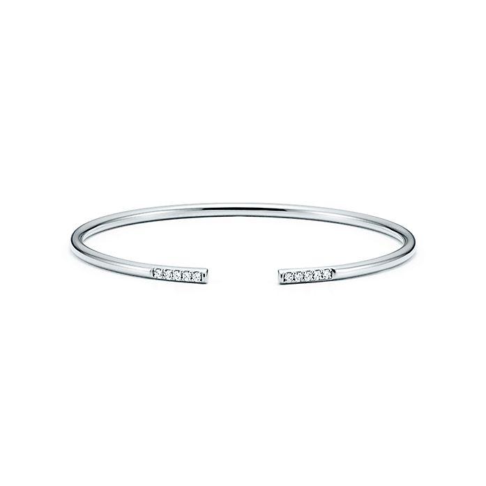 4cbba7dcd Tiffany Metro wire bracelet in 18k white gold with diamonds, medium ...